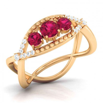 SHYLA DIAMOND COCKTAIL RING in Ruby & 18K Gold