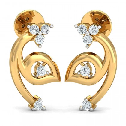 LIEN DIAMOND STUDS EARRINGS in 18K Gold