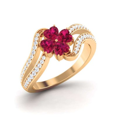 RAJUL DIAMOND COCKTAIL RING in Ruby & 18K Gold