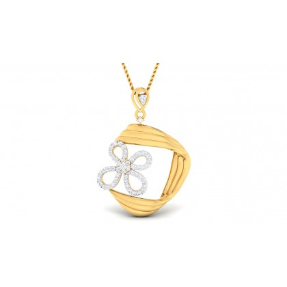 PRITAL DIAMOND FLORAL PENDANT in 18K Gold