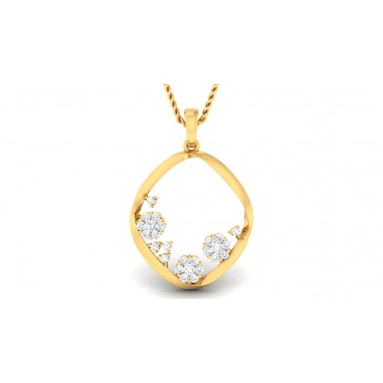TANYA DIAMOND FLORAL PENDANT in 18K Gold