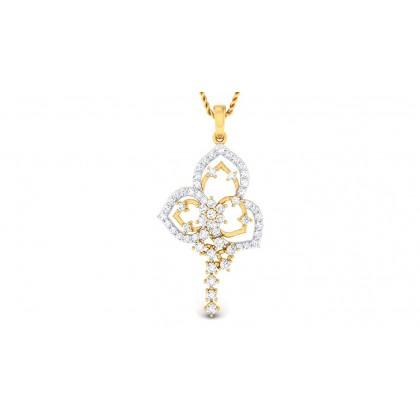 PAVI DIAMOND FLORAL PENDANT in 18K Gold