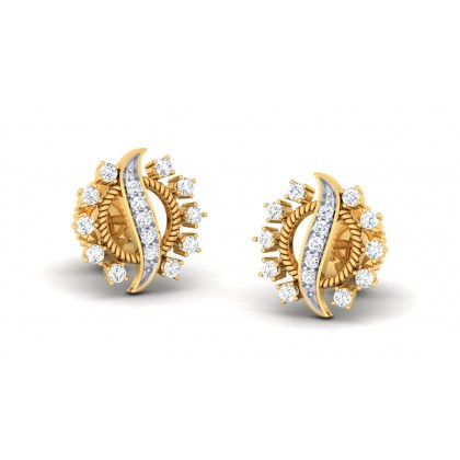 ALMAS DIAMOND STUDS EARRINGS in 18K Gold
