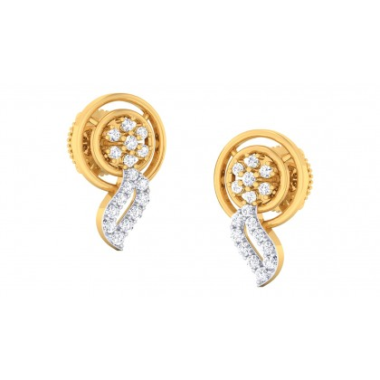 DIVINE DIAMOND STUDS EARRINGS in 18K Gold