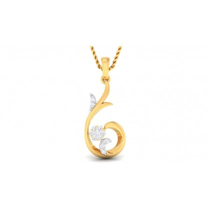 SAMA DIAMOND FLORAL PENDANT in 18K Gold