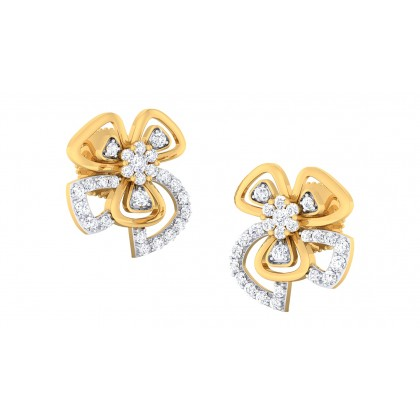 LILA DIAMOND STUDS EARRINGS in 18K Gold