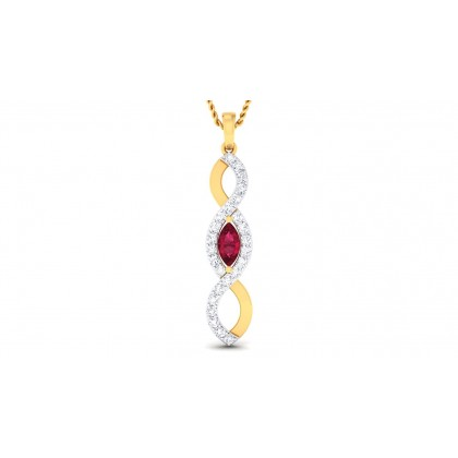 AVANIJA DIAMOND FASHION PENDANT in Ruby & 18K Gold