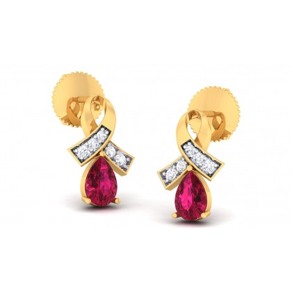 RYLEIGH DIAMOND STUDS EARRINGS in Ruby & 18K Gold