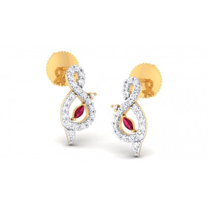 RAMITA DIAMOND STUDS EARRINGS in Ruby & 18K Gold