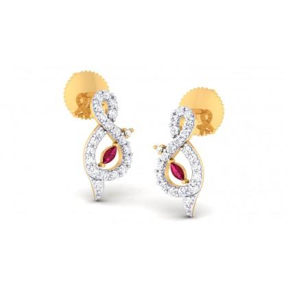 RAMITA DIAMOND STUDS EARRINGS in Ruby & 18K Gold