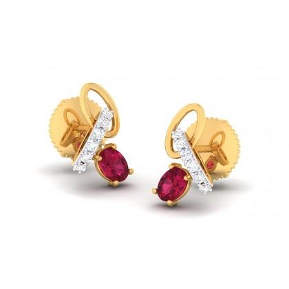 SEHAJ DIAMOND DROPS EARRINGS in Ruby & 18K Gold