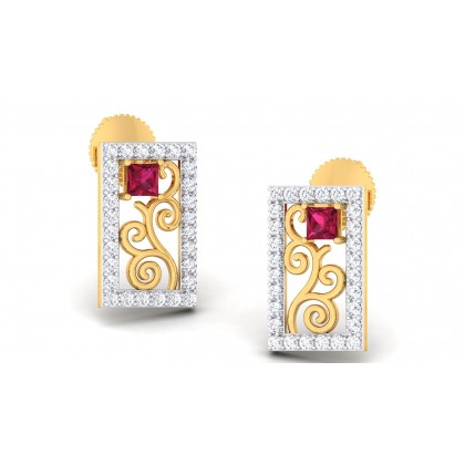 FARAH DIAMOND STUDS EARRINGS in Ruby & 18K Gold