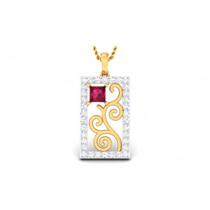 SUMITRA DIAMOND FASHION PENDANT in Ruby & 18K Gold