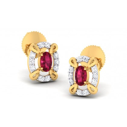 SARINA DIAMOND STUDS EARRINGS in Ruby & 18K Gold
