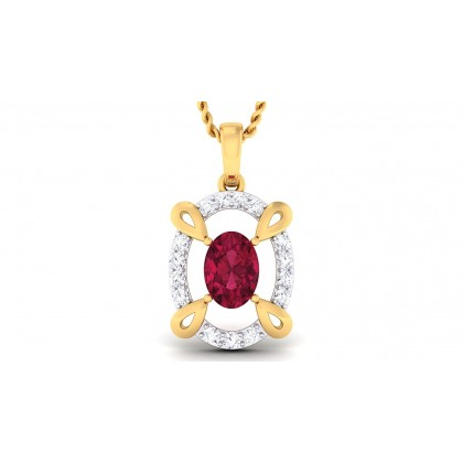 LACY DIAMOND FASHION PENDANT in Ruby & 18K Gold