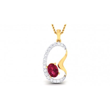 VARTIKA DIAMOND FASHION PENDANT in Ruby & 18K Gold