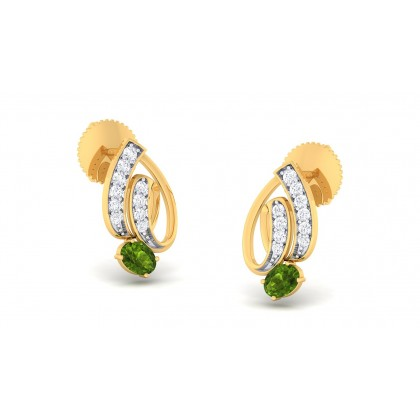 PARNAL DIAMOND STUDS EARRINGS in Emerald & 18K Gold