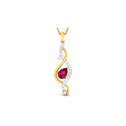MISHA DIAMOND FASHION PENDANT in Ruby & 18K Gold