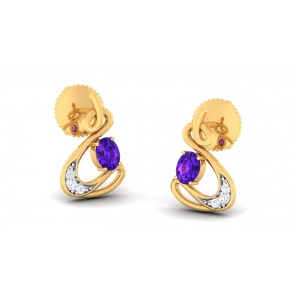 PAIGE DIAMOND STUDS EARRINGS in Sapphire & 18K Gold