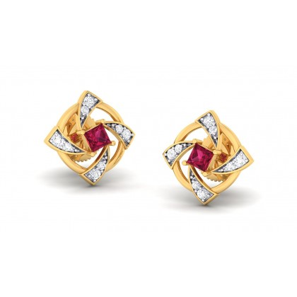 SHYAMA DIAMOND STUDS EARRINGS in Ruby & 18K Gold