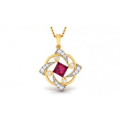 TITHI DIAMOND FASHION PENDANT in Ruby & 18K Gold