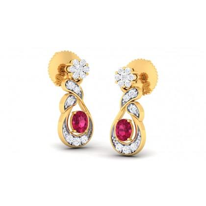 PRANALI DIAMOND DROPS EARRINGS in Ruby & 18K Gold