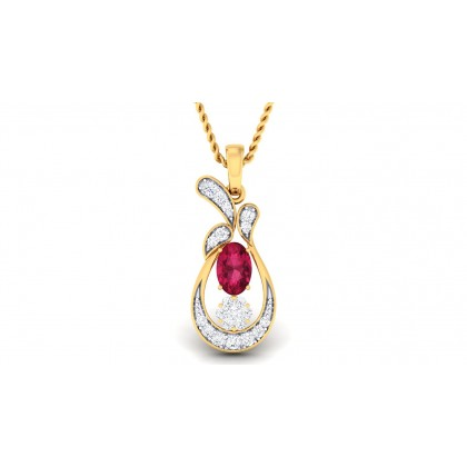 TORSHA DIAMOND FASHION PENDANT in Ruby & 18K Gold