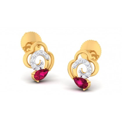 ANUPA DIAMOND STUDS EARRINGS in Ruby & 18K Gold