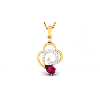 TURVI DIAMOND FASHION PENDANT in Ruby & 18K Gold