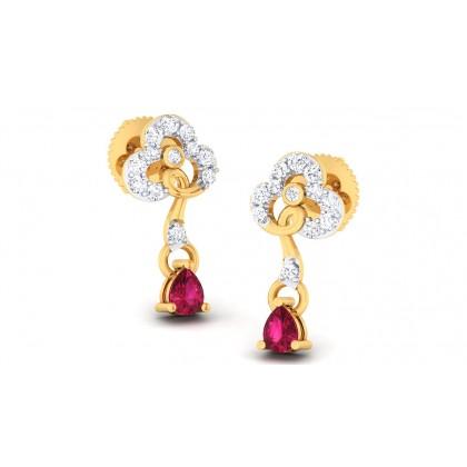 CARMELA DIAMOND DROPS EARRINGS in Ruby & 18K Gold