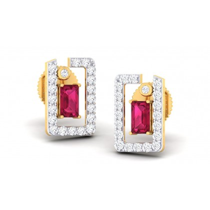 ZARINA DIAMOND STUDS EARRINGS in Ruby & 18K Gold