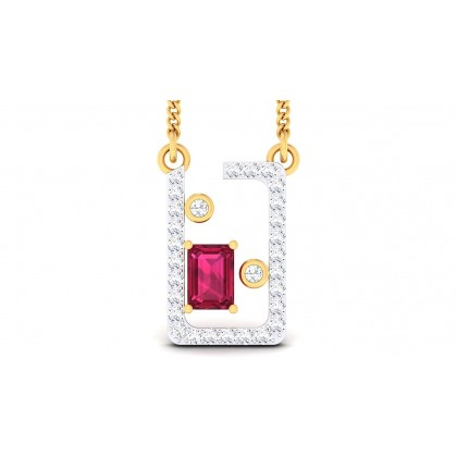 AOIFE DIAMOND FASHION PENDANT in Ruby & 18K Gold