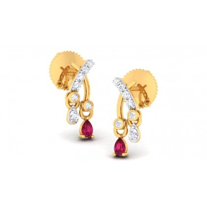 MAXINE DIAMOND DROPS EARRINGS in Ruby & 18K Gold