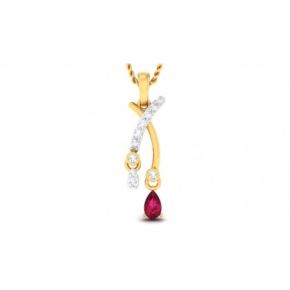 ANALIAH DIAMOND FASHION PENDANT in Ruby & 18K Gold