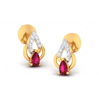 ELINA DIAMOND STUDS EARRINGS in Ruby & 18K Gold
