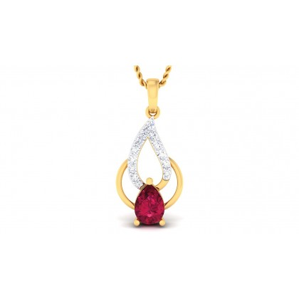 CECILY DIAMOND FLORAL PENDANT in Ruby & 18K Gold