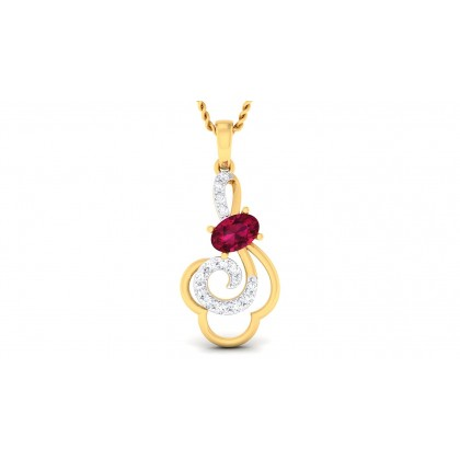 ADELYN DIAMOND FLORAL PENDANT in Ruby & 18K Gold