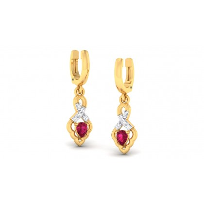 ALAKA DIAMOND DROPS EARRINGS in Ruby & 18K Gold