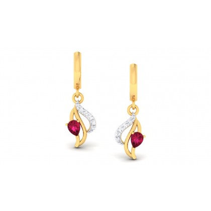 ANAIYA DIAMOND DROPS EARRINGS in Ruby & 18K Gold