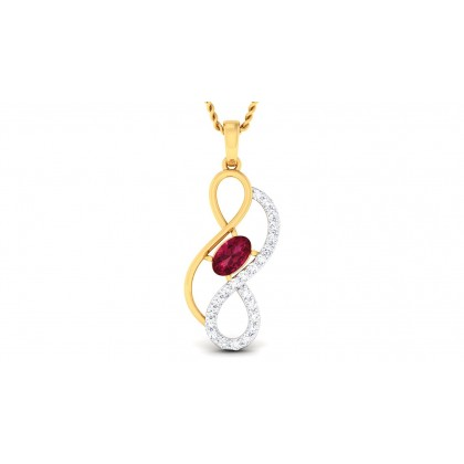 DEVIKA DIAMOND FASHION PENDANT in Ruby & 18K Gold