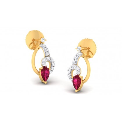 LEAH DIAMOND DROPS EARRINGS in Ruby & 18K Gold