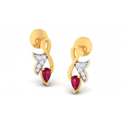 AVEN DIAMOND STUDS EARRINGS in Ruby & 18K Gold