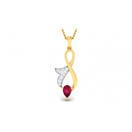 KUNTAL DIAMOND FLORAL PENDANT in Ruby & 18K Gold