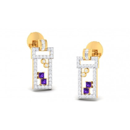 CARMELA DIAMOND STUDS EARRINGS in Sapphire & 18K Gold