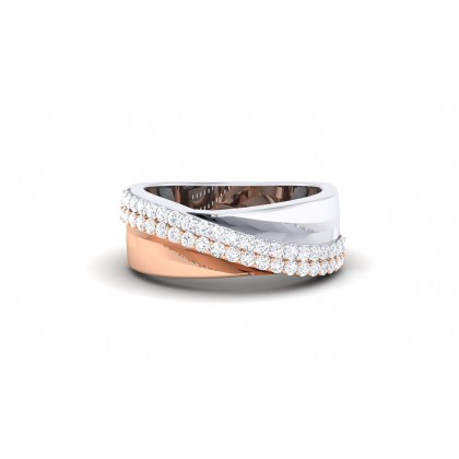 RUSHAM DIAMOND BANDS RING in 18K Gold