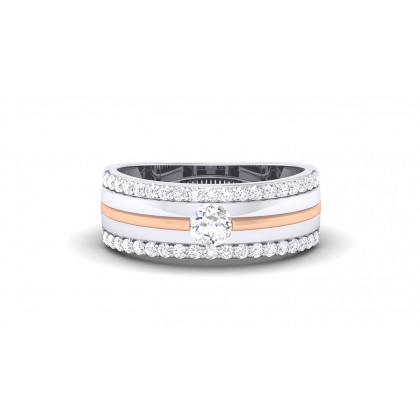 TURVI DIAMOND BANDS RING in 18K Gold