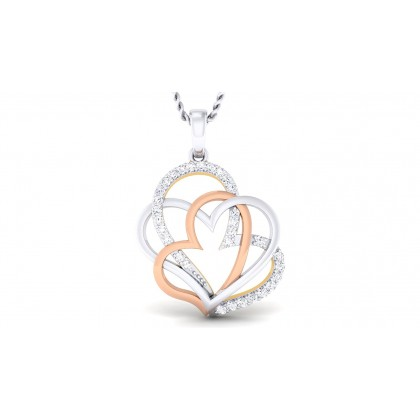 KIM DIAMOND HEARTS PENDANT in 18K Gold