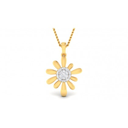 RESHAM DIAMOND FLORAL PENDANT in 18K Gold