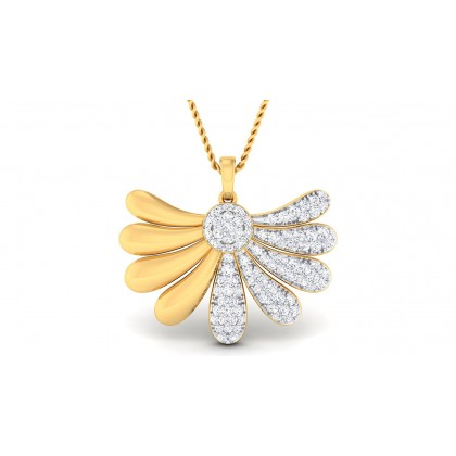ZARIA DIAMOND FLORAL PENDANT in 18K Gold