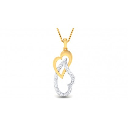 JOVIE DIAMOND HEARTS PENDANT in 18K Gold